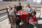 Morning tea at the Jebal Shams Hotel. Temperature 10 degrees! with daddy, shem Simon & sis Skye Oman