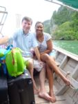 With my hubby in the boat on our way to Railay Island