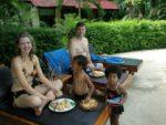Hubby, Skye, Amani & Malaika having lunch at the pool