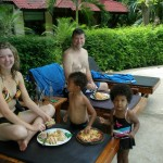 Hubby, Skye, Amani & Malaika having lunch at the pool