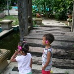 Amani & Malaika enjoy the hotel garden