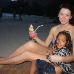 Malaika with her sis Skye having a drink at Railay Beach
