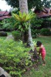 Malaika having fun at the Sunrise Resort garden