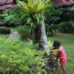 Malaika having fun at the Sunrise Resort garden