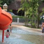 The kids having fun at the pool