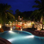 The hotel pool by night