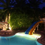 The view of the pool night time