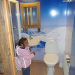 The cabin toilet, love the wall paper. Longyearbiyne