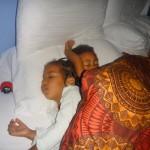 The night before Xmas sleeping dreaming about Santa with Zawadi tele.