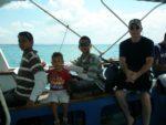 On the boat to Bongoyo Island, Billy, Amani, Bobby & Hubby