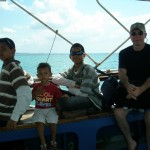 On the boat to Bongoyo Island, Billy, Amani, Bobby & Hubby