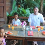 My family  having a breakfast