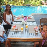 Breakfast by the pool with my family