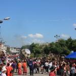 People enjoying the festival balloon celebration