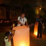 Lighting Lanterns outside our hotel