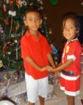 The morning of Xmas, very happy kids and very lucky one. Santa is good