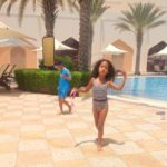 My kids Malaika Imani & Amani @Al Bandar hotel pool Wacha we Malaika hahahhaaa...