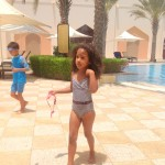 My kids Malaika Imani & Amani @Al Bandar hotel pool