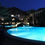 Al Waha swimming pool by night