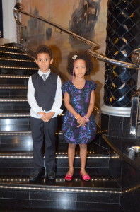 Amani and Malaika dressed up for gala night