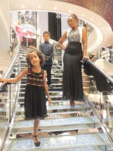 With my kids on MSC Divina cruise ship