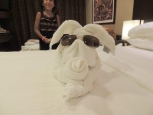 Our butler did a good job taking care of our cabin, he likes to make animals with towels