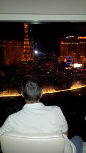 Hubby enjoys bellagio fountain from our room window
