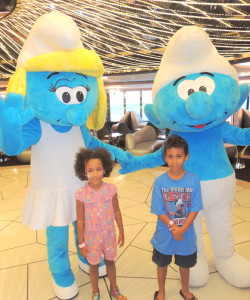 Amani and Malaika with Smurfs