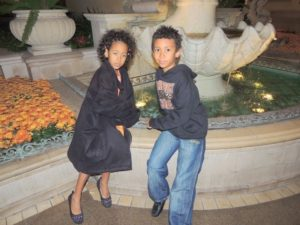 Malaika and Amani outside Bellagio hotel