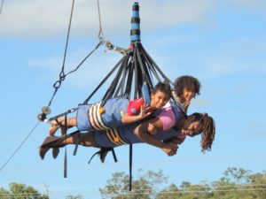 With my babies up in the air on the giant swing. Oh dear you don't want to try this, scary!